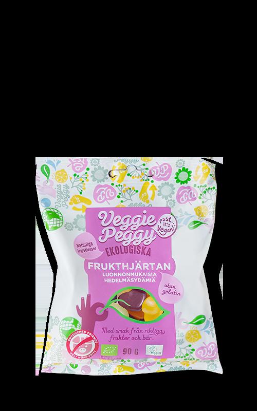Gelatinfritt godis Veggie Peggy Frukthjartan veganskt