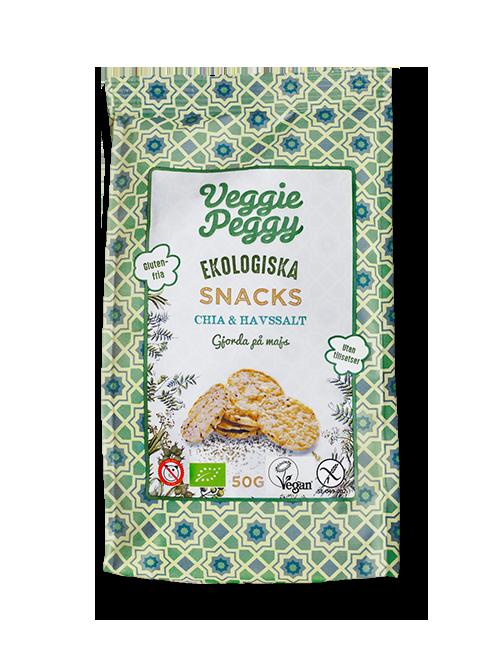 glutenfria majssnacks Veggie Peggy chia havssalt veganska