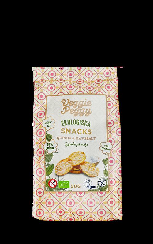 glutenfria majssnacks Veggie Peggy quinoa havssalt veganska