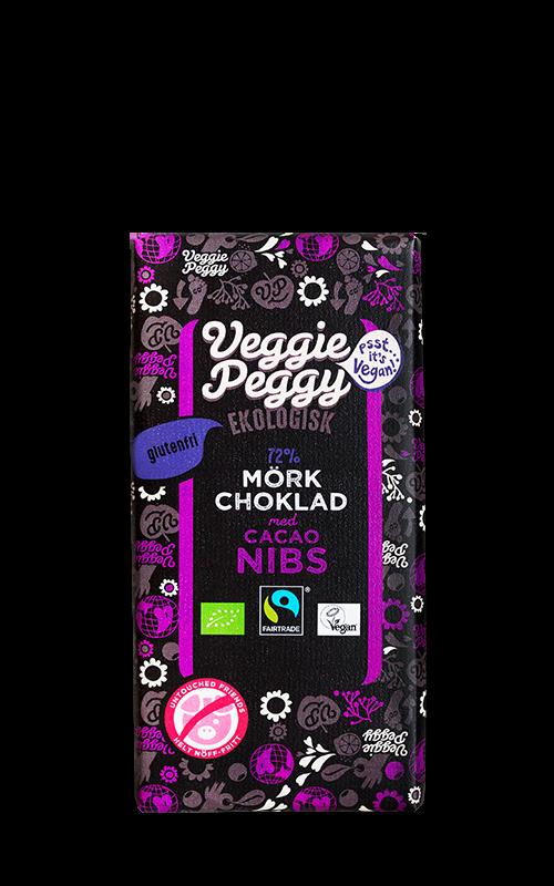 Veggie Peggy mork vegansk laktosfri choklad cacao nibs